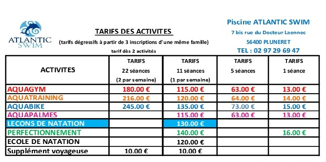 Planning tarifs atlantic swim for Tarif piscine waterair